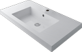Cast marble structured washbasin NATURA C